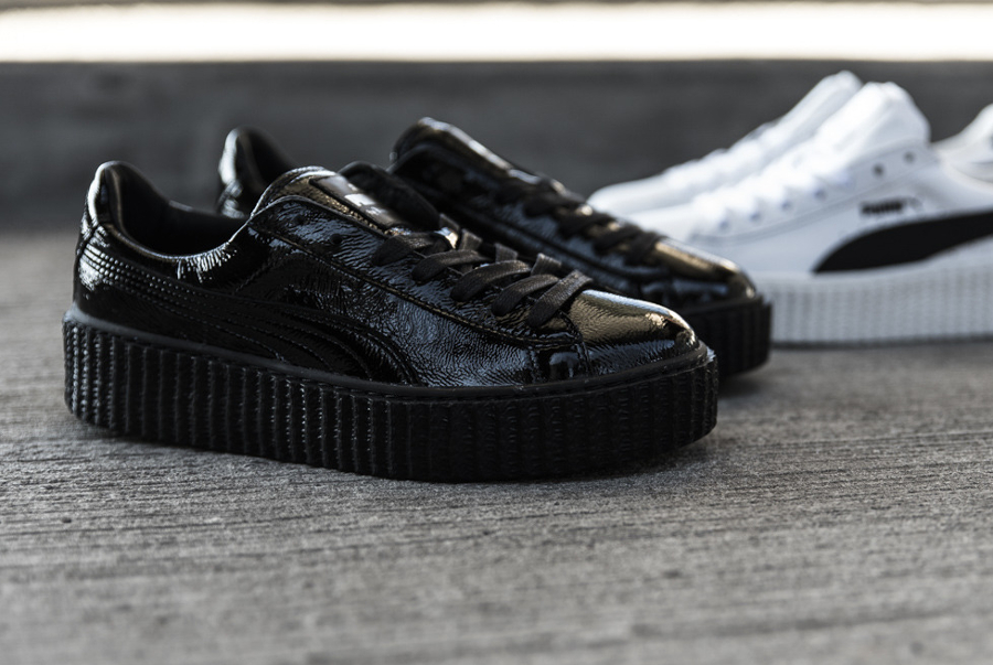 Chaussure Fenty Rihanna x Puma Suede Creeper Wrinkled Leather noir (4)