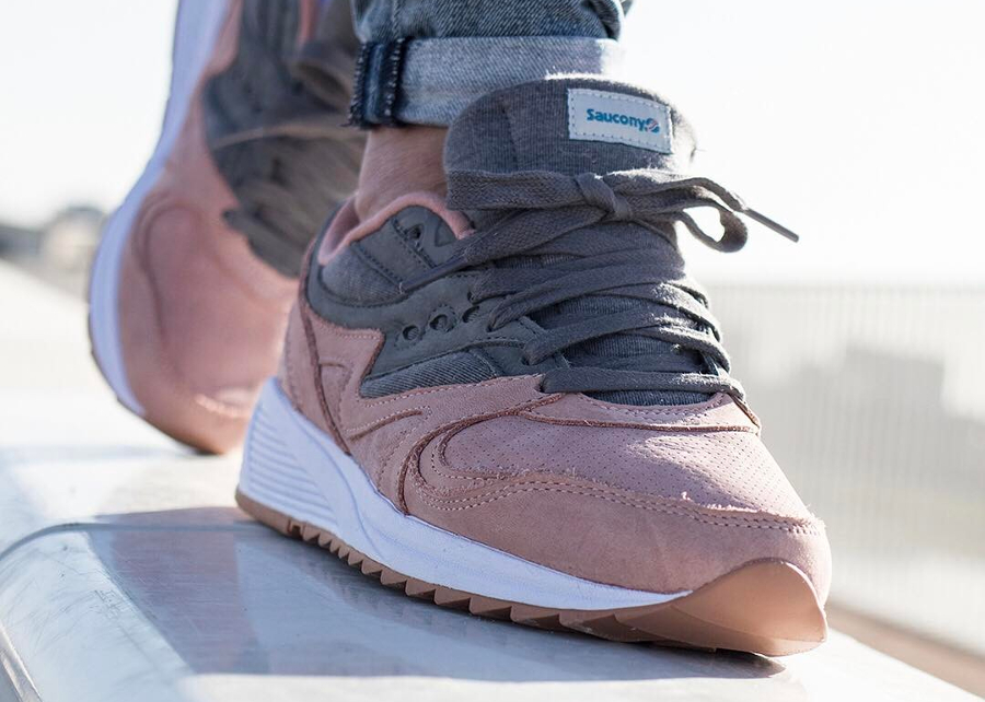 Chaussure Saucony Grid 8000 Charcoal Salmon (Jersey Pack) (3-1)