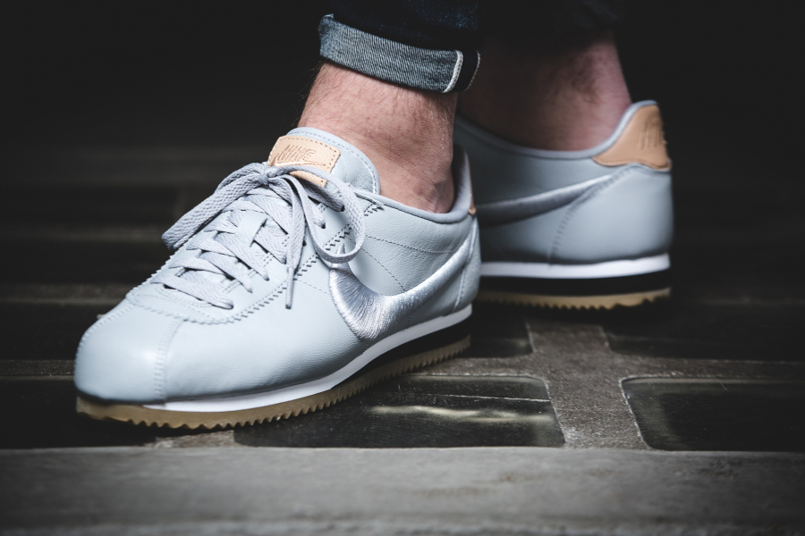 Nike Cortez Leather Premium Grey Embroidered Swoosh pas cher