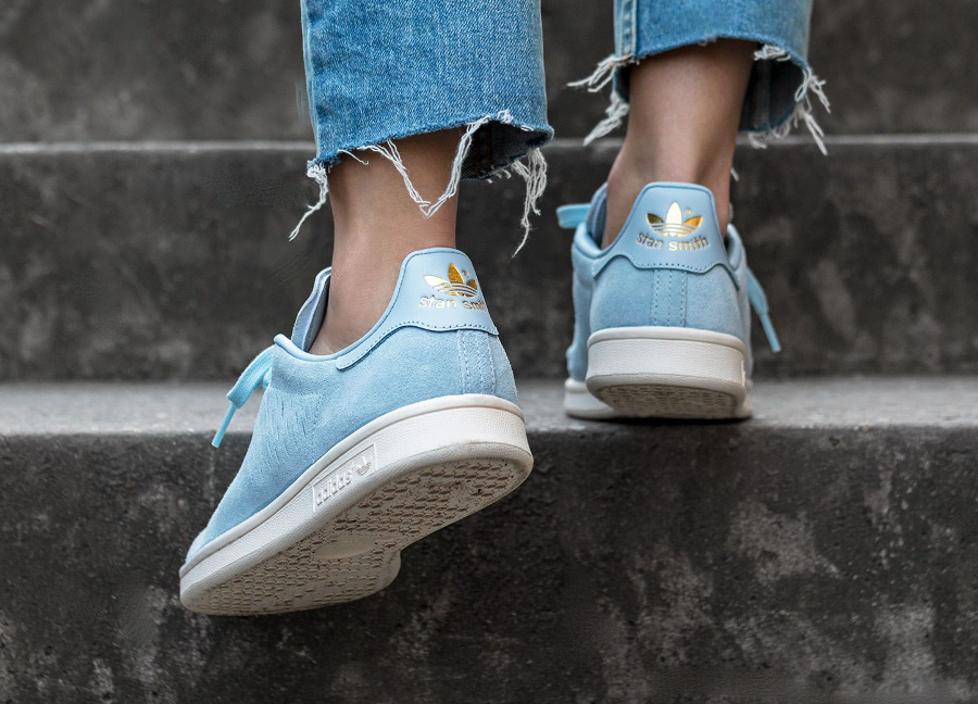 Adidas Originals Stan Smith Daim Perforé Bleu Pastel (femme)
