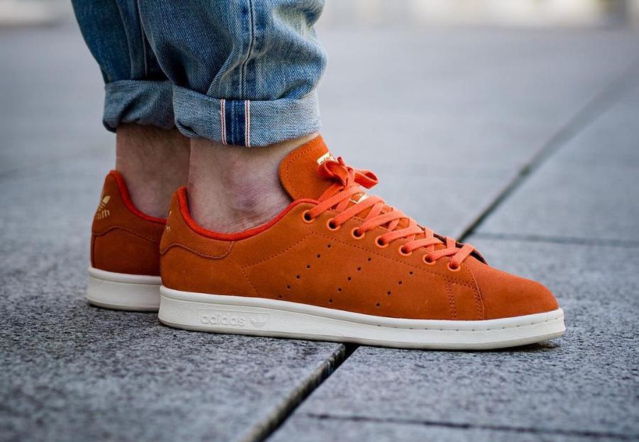 Basket Adidas Stan Smith Suede Premium Energy Orange Hermes (1)