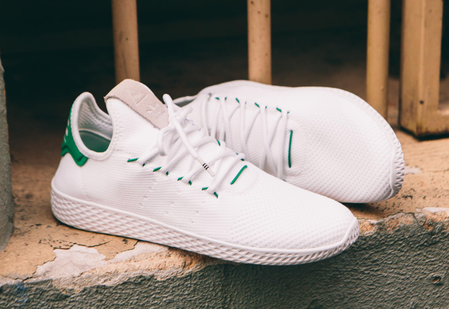 Chaussure Adidas Pharrell Tennis Hu White Green (1)