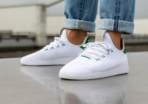 Chaussure Adidas Pharrell Tennis Hu White Green (5)