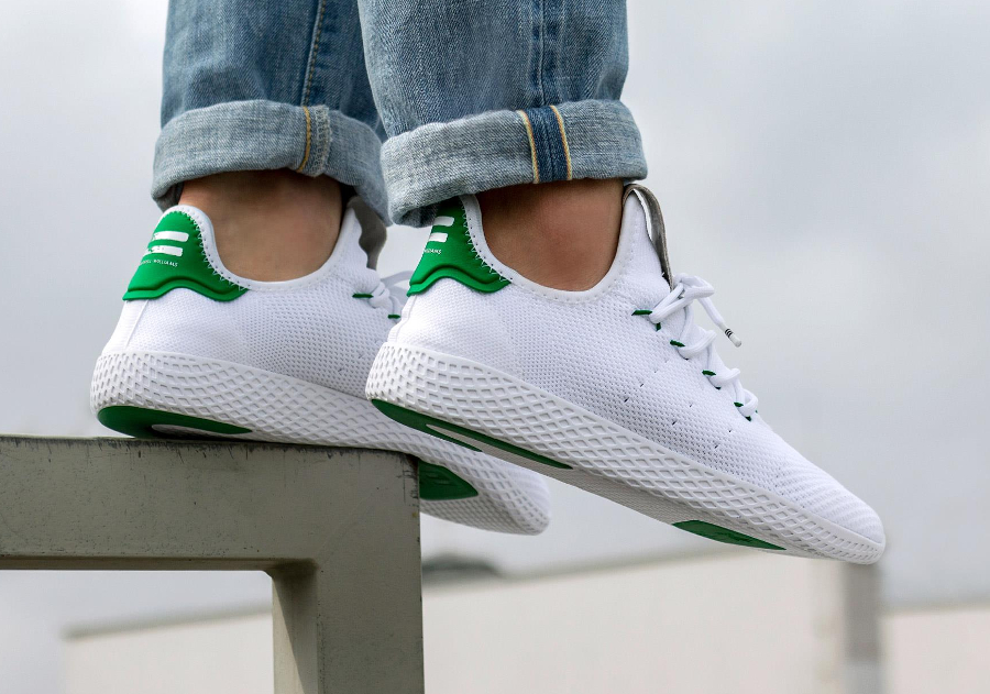 Chaussure Adidas Pharrell Tennis Hu White Green (6)