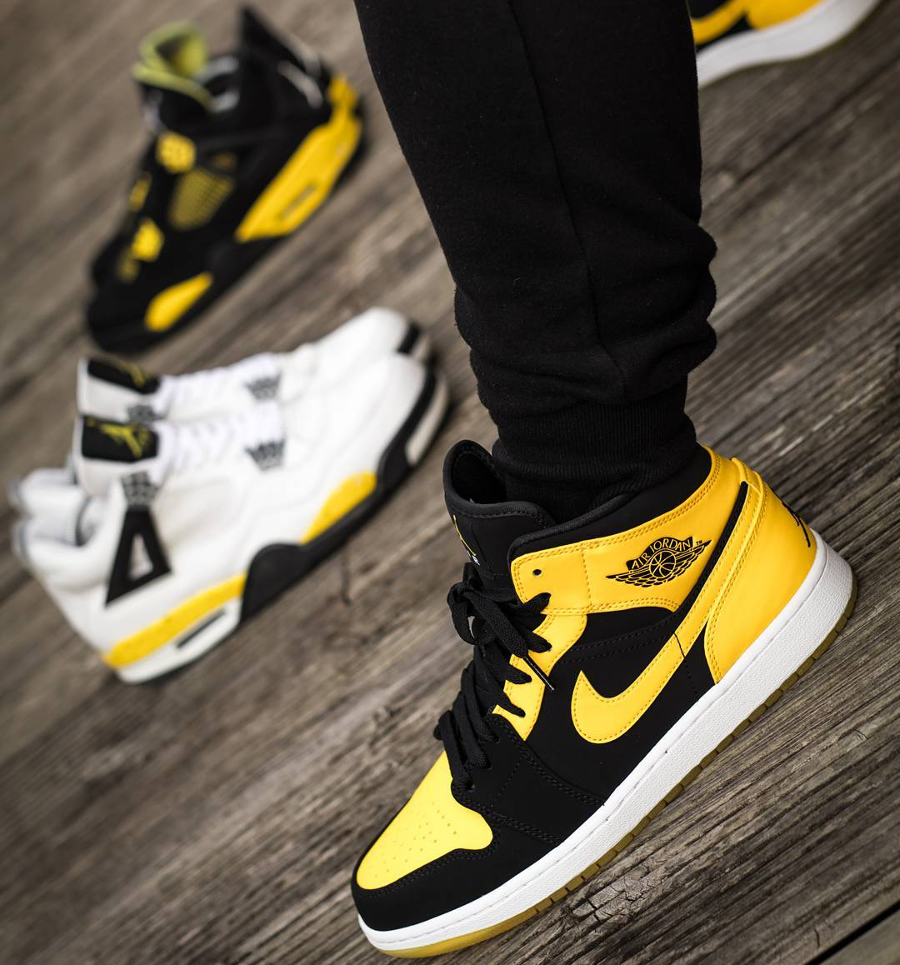 air jordan 1 mid 39 new love dmp 39 black varsity maize 2017. Black Bedroom Furniture Sets. Home Design Ideas