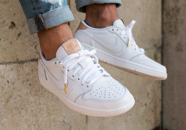 Chaussure Air Jordan 1 Retro Low OG PRM Blanche Vachetta Tan