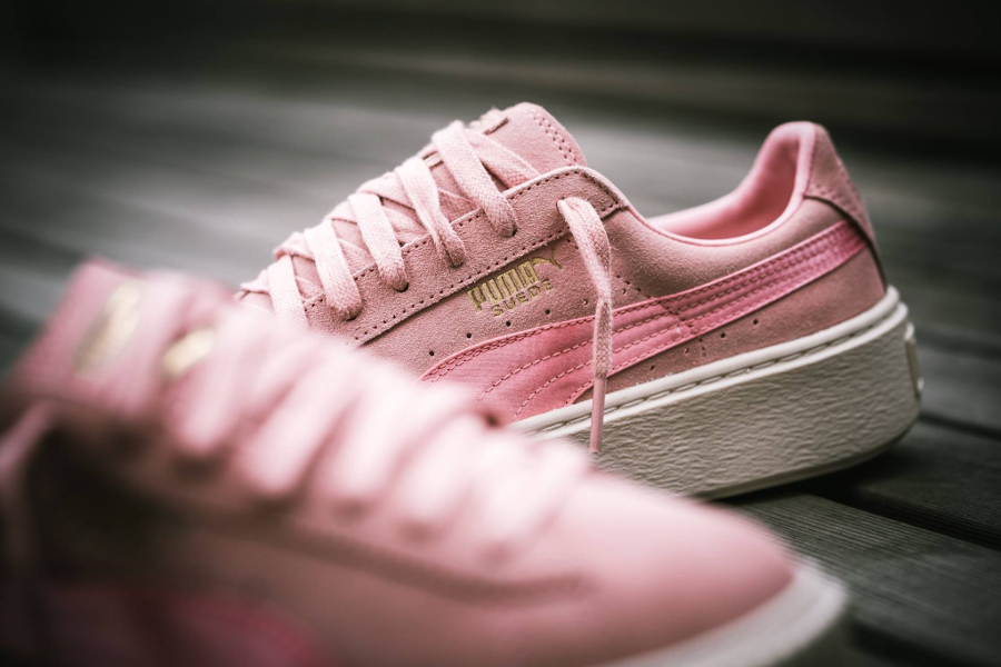 Chaussure Puma Suede Platform Satin Silver Pink