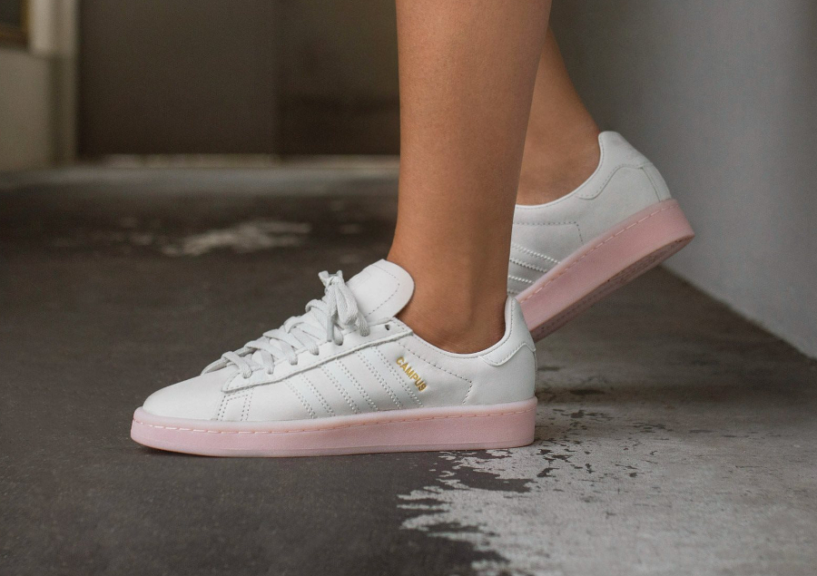Chaussure Adidas Campus femme White Icey Pink (1)