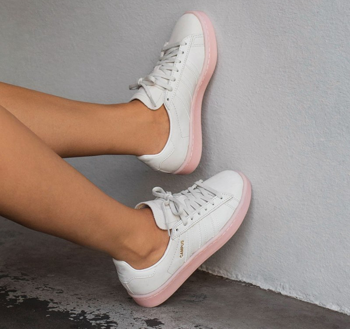 huge discount 45d94 e658e Chaussure Adidas Campus femme White Icey Pink (4)