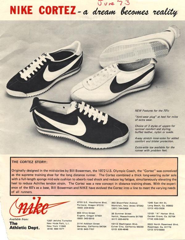 Nike Cortez publicité années 70