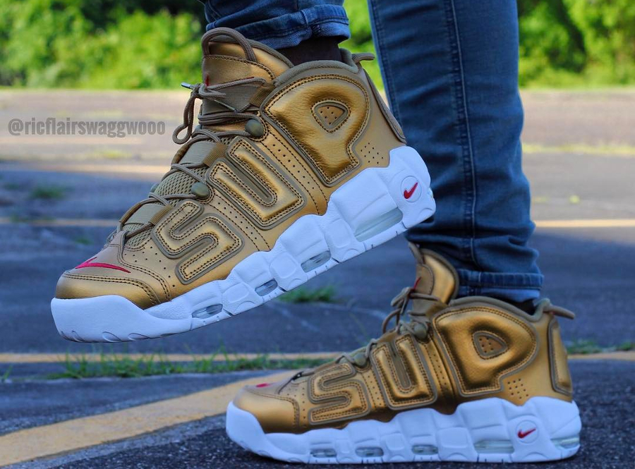 Supreme x Nike Air More Uptempo Suptempo Gold - @ricflairswaggwooo