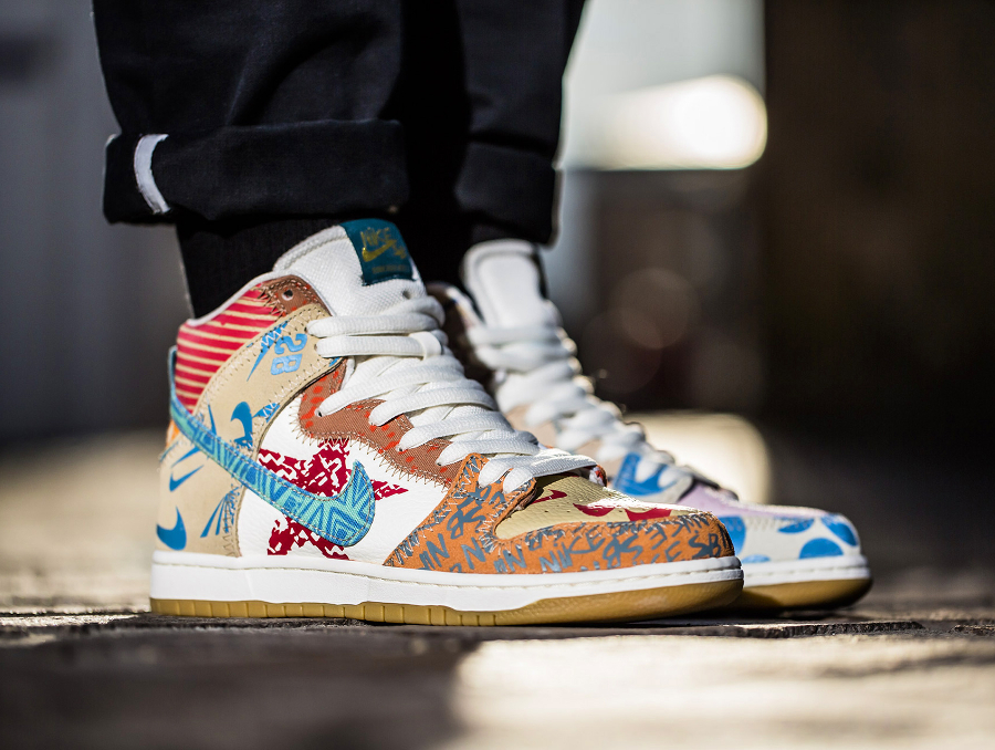 Chaussure Thomas Campbell Nike Dunk High SB What The (1)
