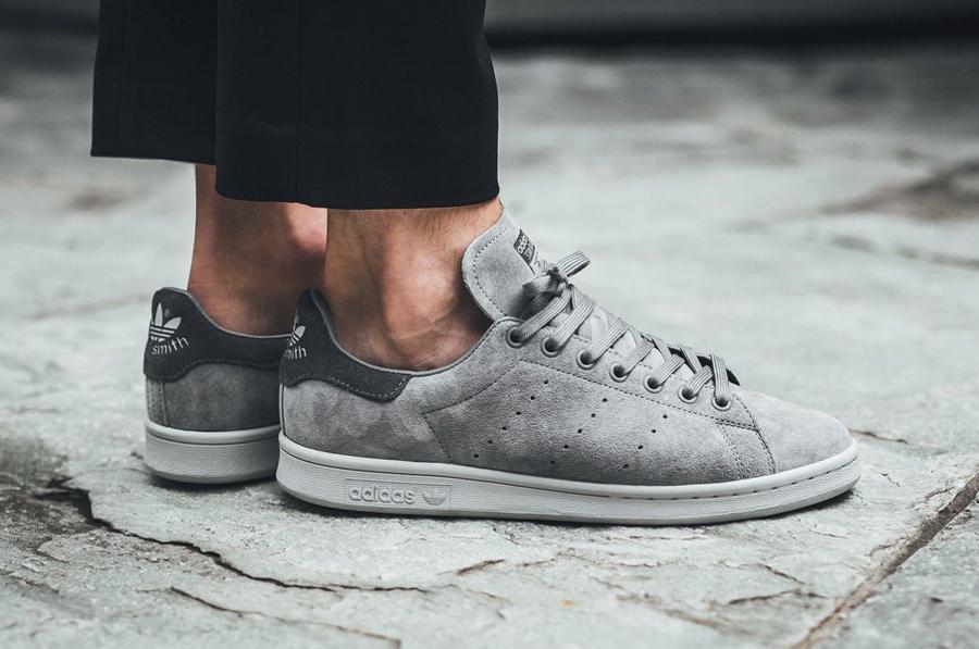 Chaussure-Adidas-Originals-Stan-Smith-homme-Suede-Grey-Three (3)