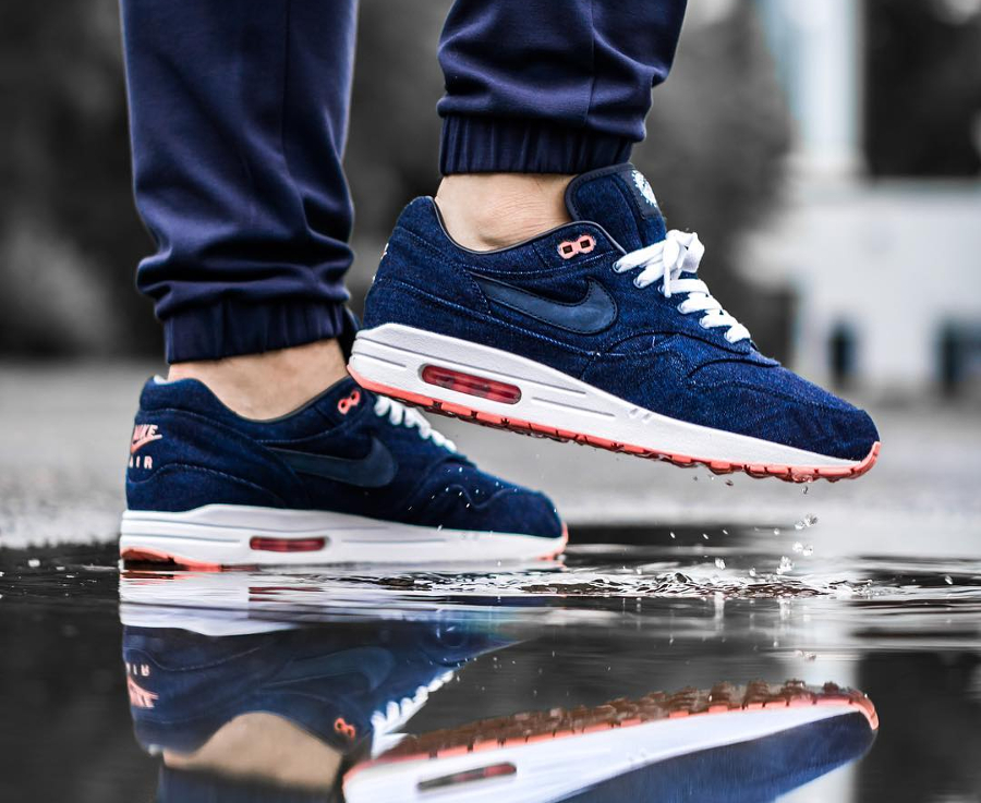 Chaussure Nike Air Max 1 ID Premium Denim Salmon Sole (2)