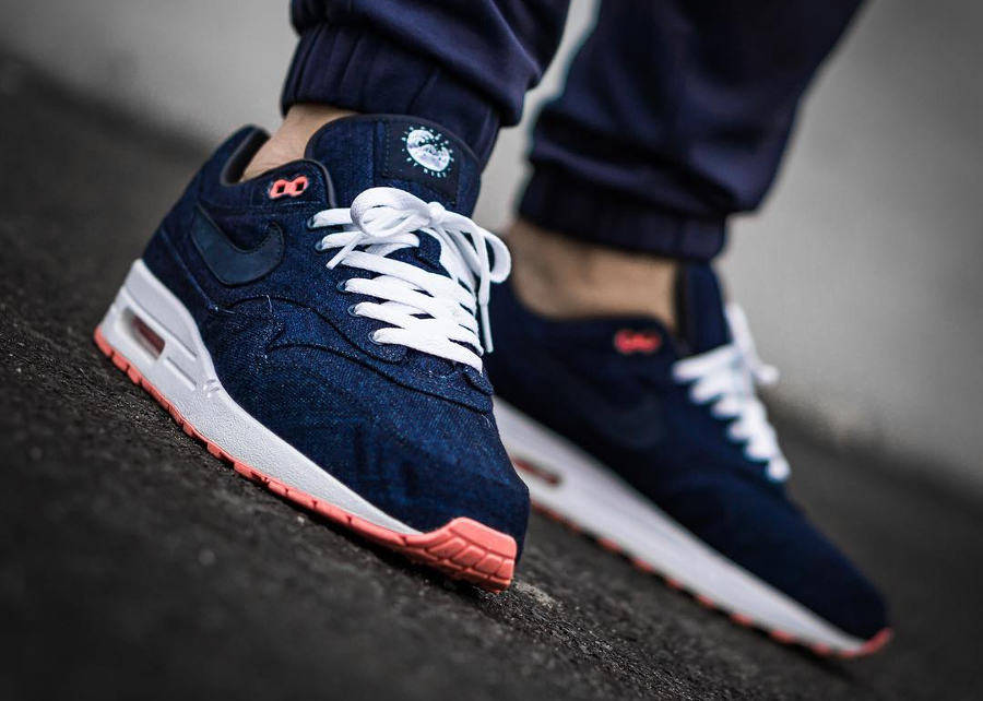 Chaussure Nike Air Max 1 ID Premium Denim Salmon Sole (3)