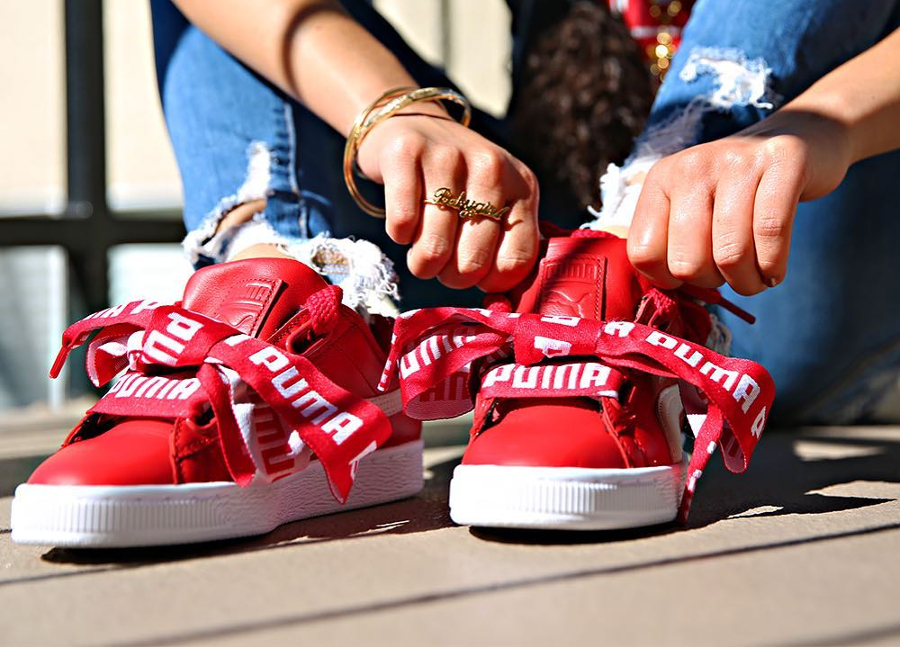 puma basket heart de rouge / blanc