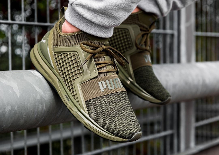 chaussure-puma-ignite-limitless-knit-verte-olive-night
