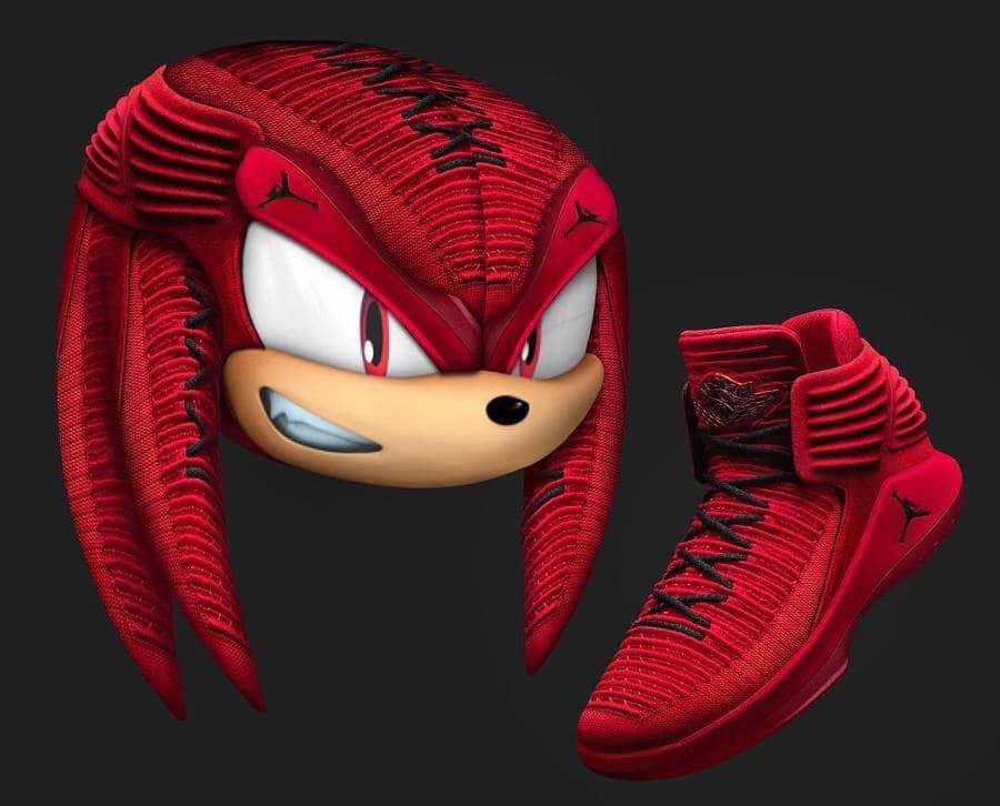 Knuckles x Air Jordan XXXII Rosso Corsa