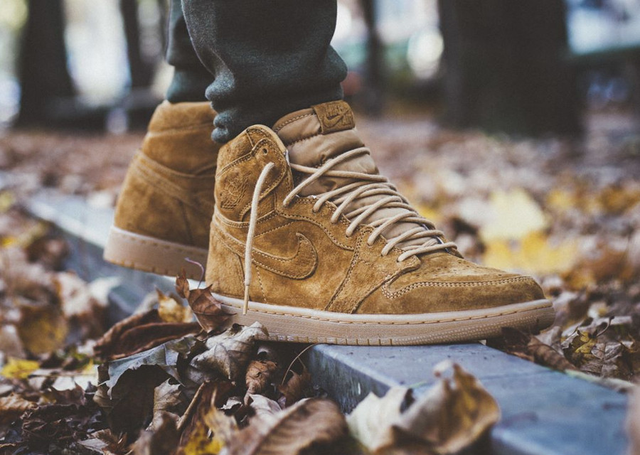 Chaussure Air Jordan 1 High Retro OG Suede 'Wheat Golden Harvest' (daim marron)