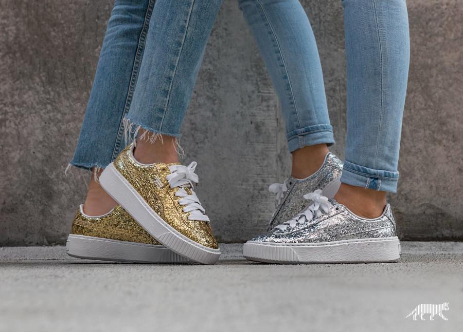 Chaussure Puma Basket Platform Glitter Silver & Gold (paillettes)