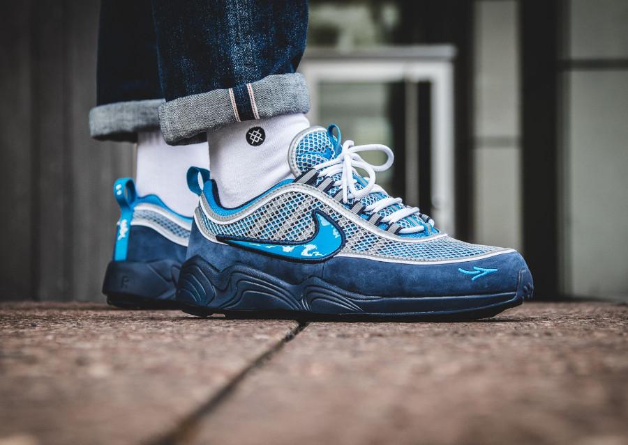 Chaussure Stash x NikeLab Air Zoom Spiridon 16 'Blue' on feet (3)