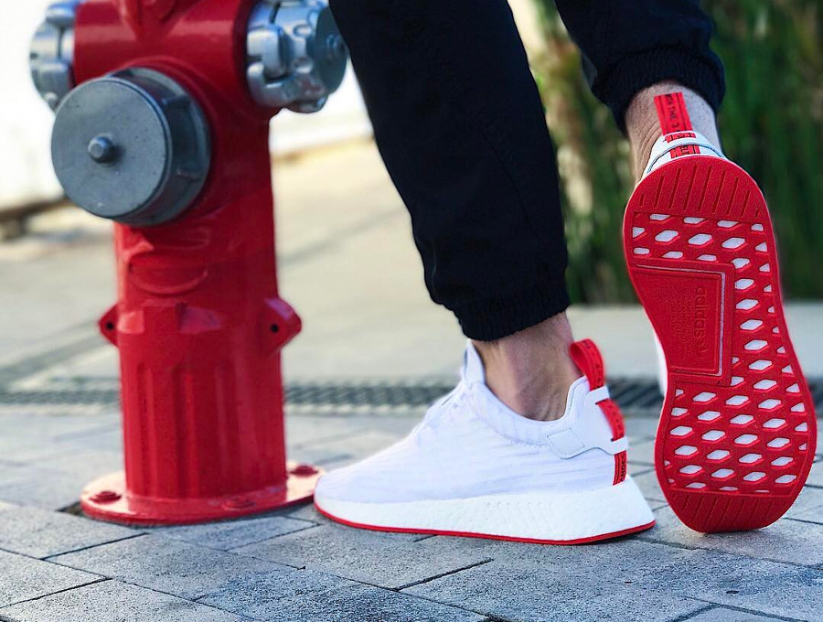 Adidas NMD R2 White Solar Red - @pablo_atr