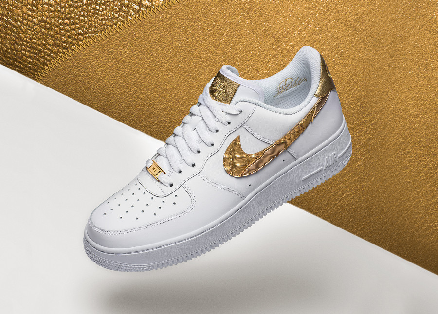 Chaussure Nike Air Force 1 Low CR7 Golden Patchwork Swoosh doré