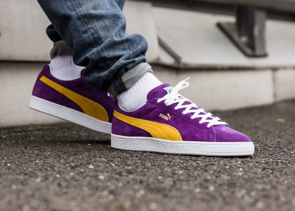 Photo de la Puma Suede 50th Anniversary MIJ The Collectors Lakers Made in Japan on feet
