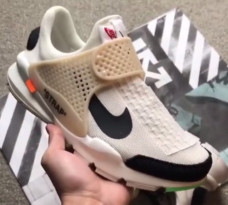 fausse off white nike sock dart strap blanche