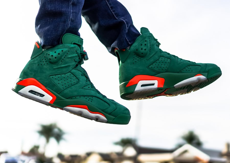 Air Jordan 6 Retro Gatorade Pine Green on feet - @dj.sim