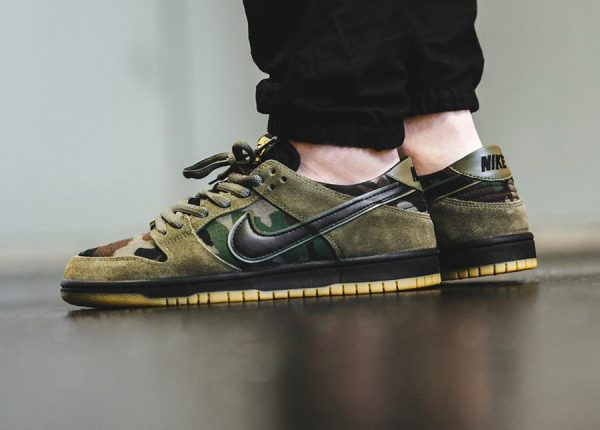 Chaussure Nike Dunk Low Pro SB Camo Medium Olive (vert militaire)