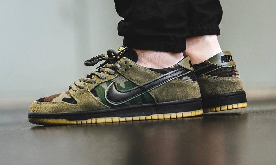 Chaussure Nike Dunk Low Pro SB Camo Medium Olive (vert militaire)