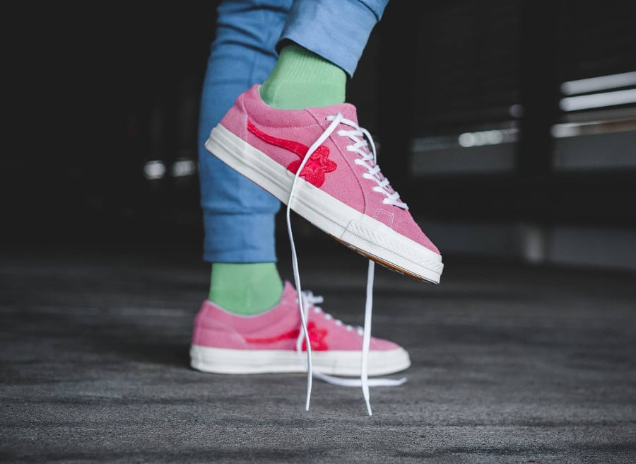 Chaussure Tyler The Creator x Converse One Star rose Geranium Pink (2)