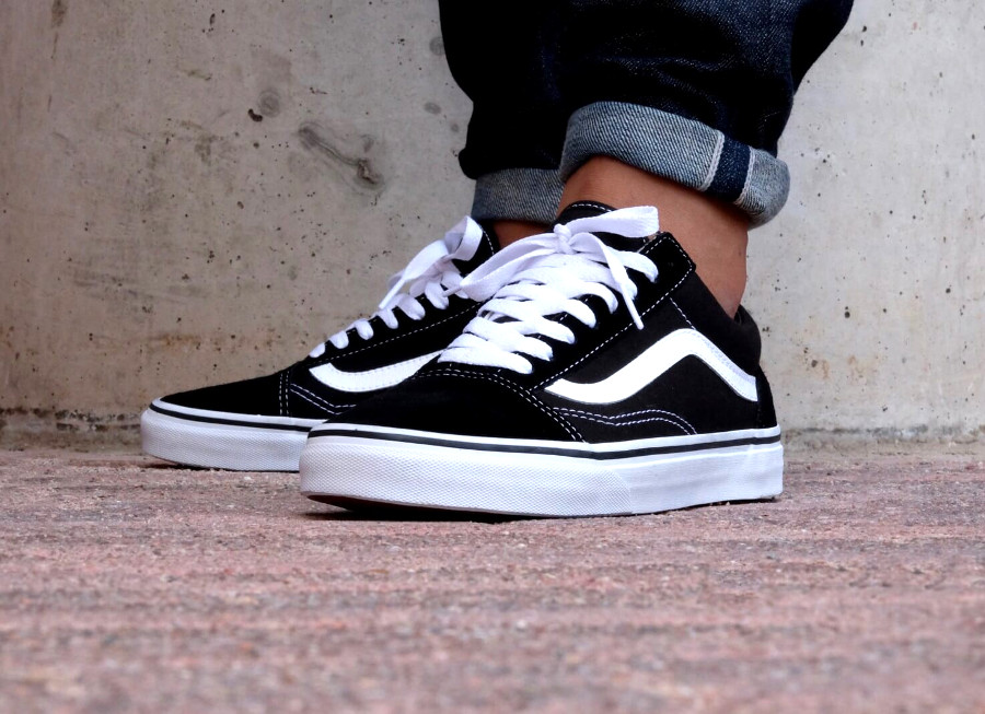 Chaussure Vans Old Skool Noir Black White (daim & canvas)