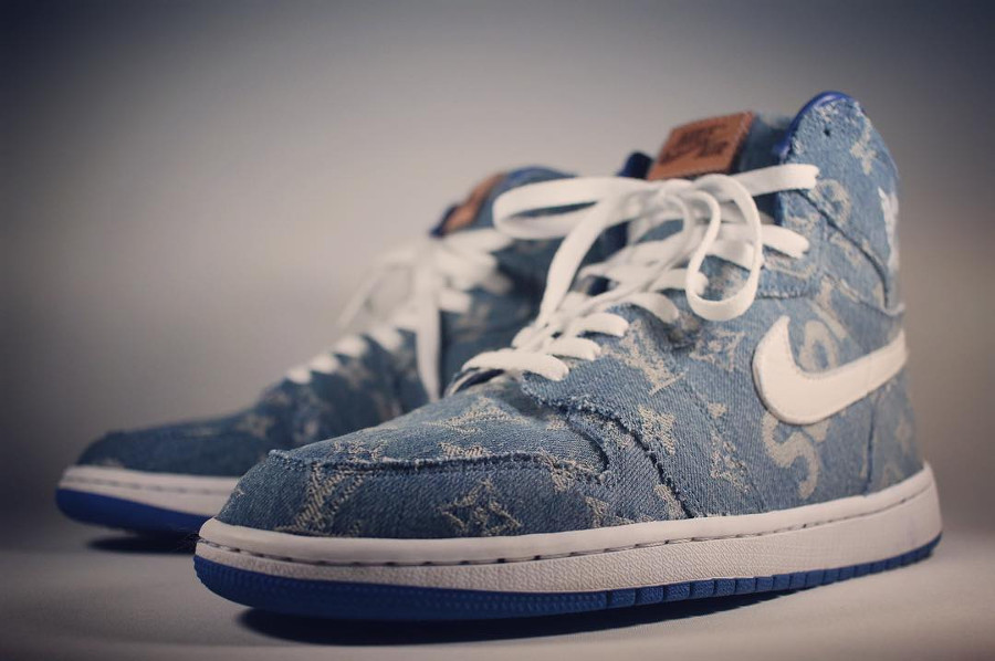 Louis Vuiton x Supreme x Air Jordan 1 Retro High Denim Sup - @redribbonrecon (1)