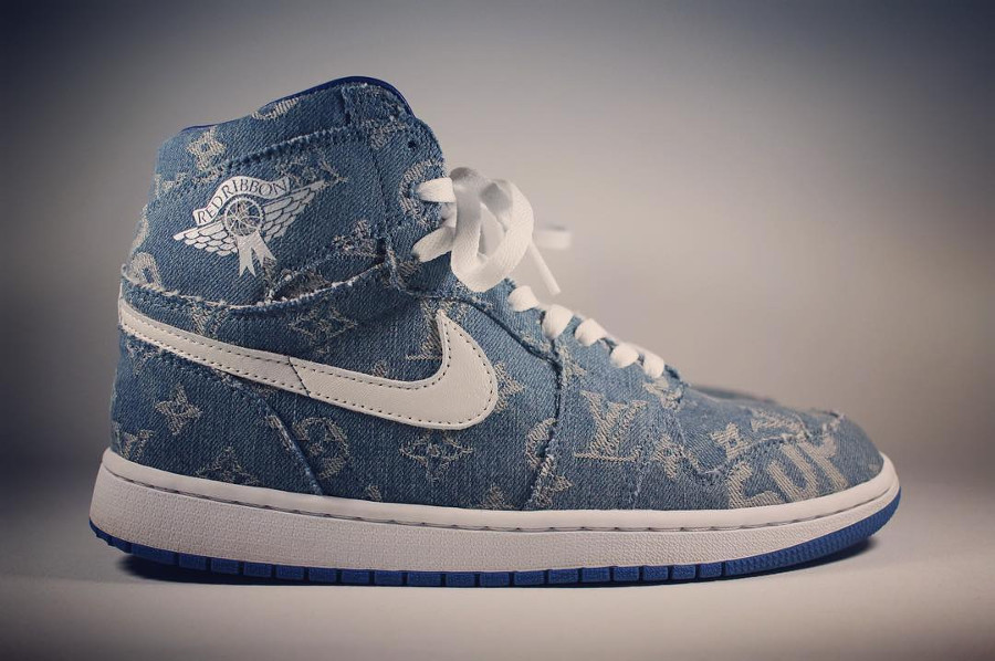Louis Vuiton x Supreme x Air Jordan 1 Retro High Denim Sup - @redribbonrecon (2)