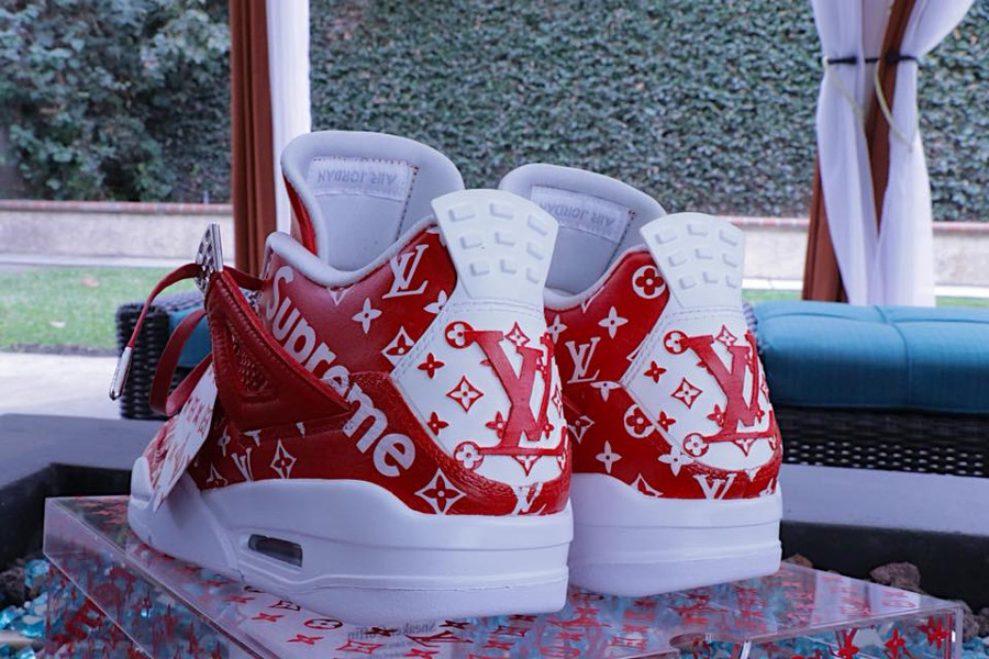 Louis Vuitton x Supreme x Air Jordan 4 rouge - @feelgoodthreads (1)