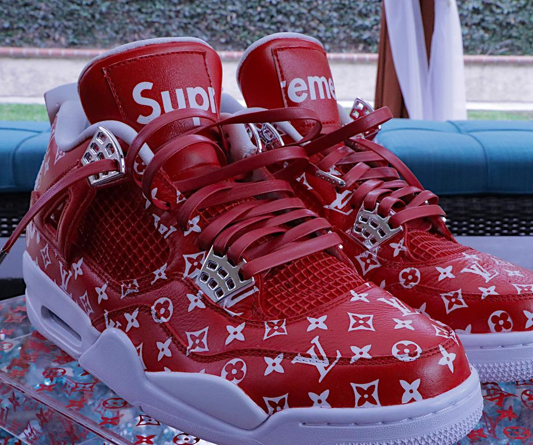 Louis Vuitton x Supreme x Air Jordan 4 rouge - @feelgoodthreads