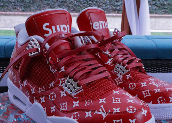Supreme x Louis Vuitton x Air Jordan 4 'Red & Black'