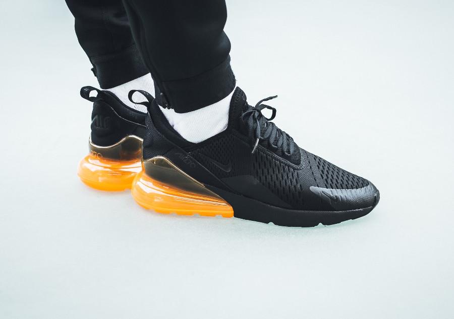 Nike Air Max 270 Black Total Orange (mesh noir et gros coussin d'air orangé) - chaussure pour homme (1)