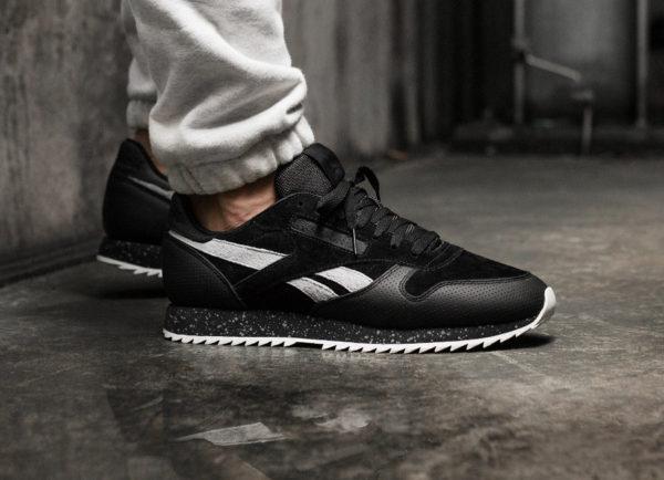 fbe5c705e1762 Reebok Classic CL Leather Ripple SM Speckle Midsole noire - chaussure rétro  pour homme