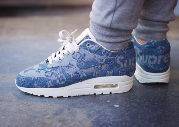 Supreme x Louis Vuitton x Nike Air Max 1 Denim - @shoenica
