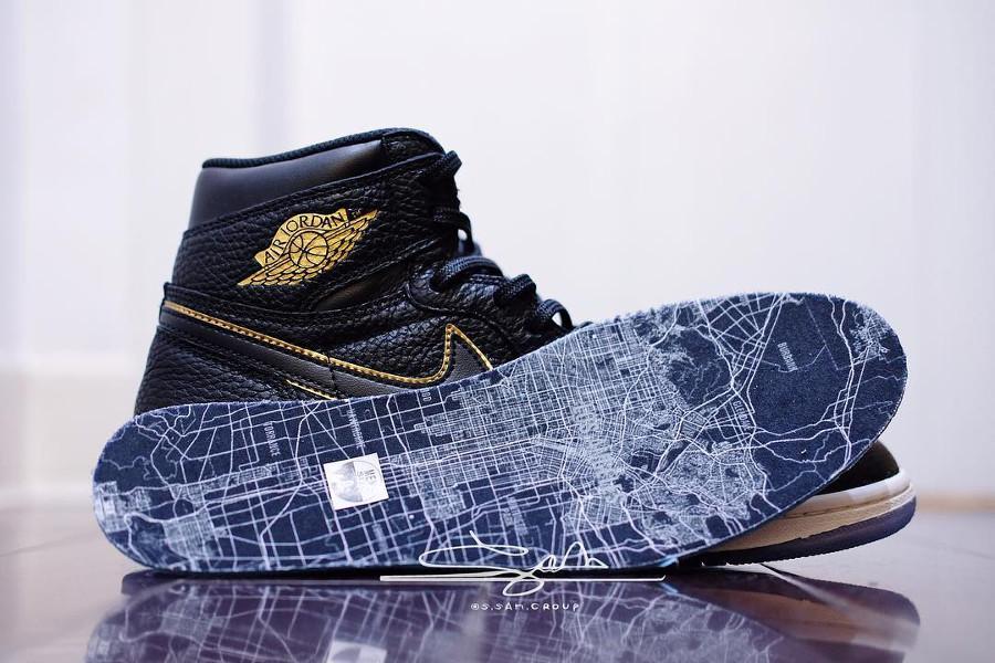 acheter Air Jordan 1 carte de Los Angeles sur la semelle