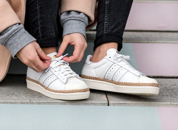 chaussure espadrilles Adidas Superstar 80's New Bold blanche pour femme