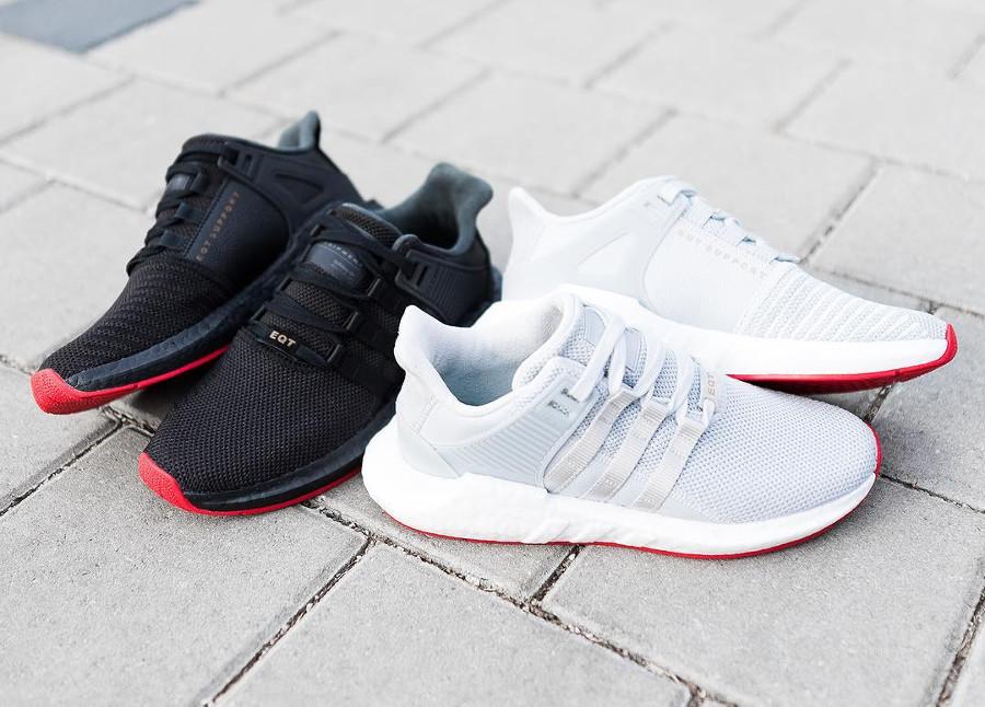Adidas Equipment Support 93/17 'Red Carpet' (Black & Matte Silver)
