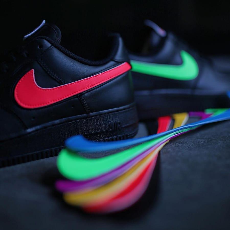 Chaussure Nike Air Force 1 Triple Black Velcro Swoosh (AH8462-002) (1)