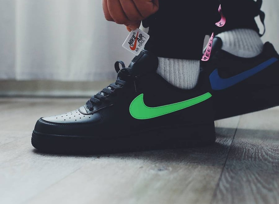 Chaussure Nike Air Force 1 Triple Black Velcro Swoosh (AH8462-002) (2)