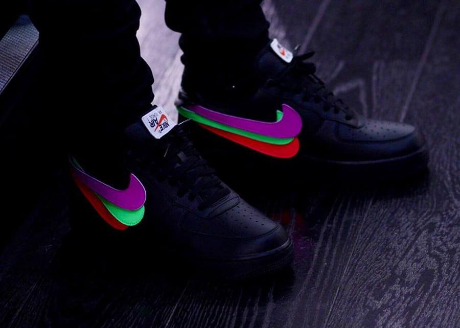 Chaussure Nike Air Force 1 Triple Black Velcro Swoosh (AH8462-002) (3)