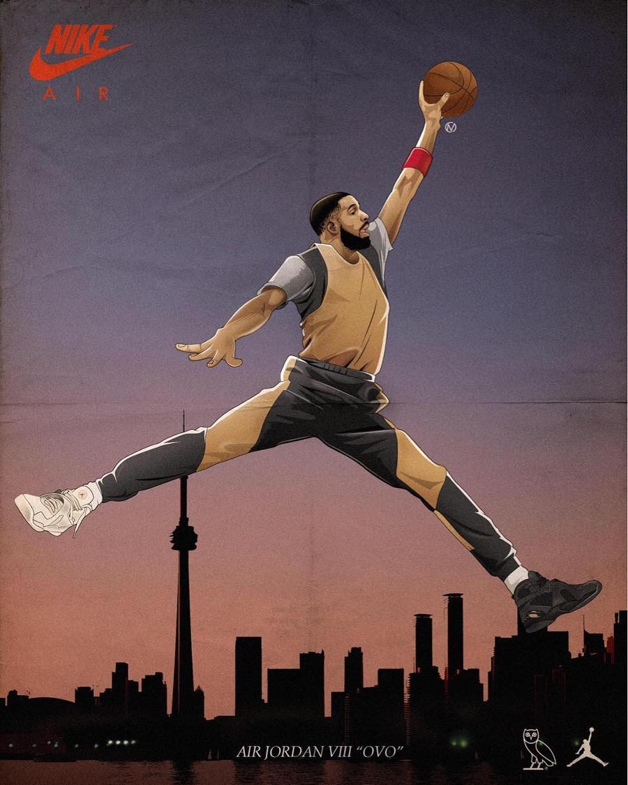 Drake x Air Jordan 8 OVO blanche et noire - chaussure édition limitée homme