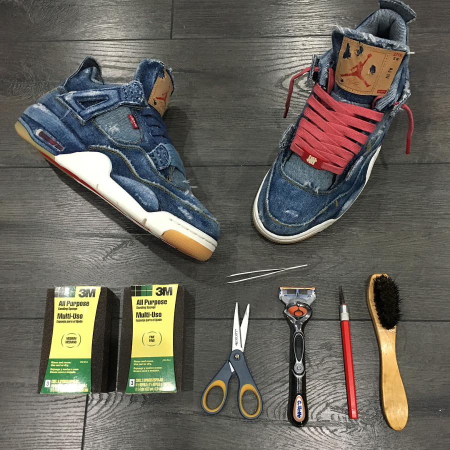 Levis x Air Jordan 4 Retro Distressed Denim (jeans déchiré) (1)